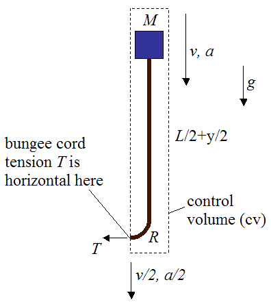 control volume for impulse and momentum analysis of bungee jumper and cord