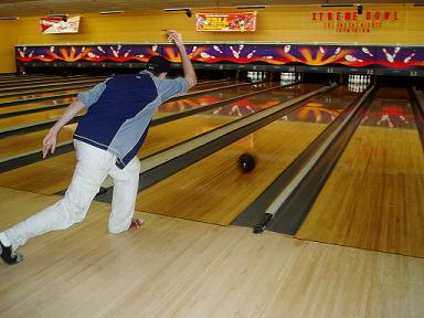 bowler making a shot