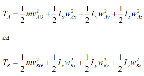 General kinetic energy equations at A and B for rigid body for conservation of energy