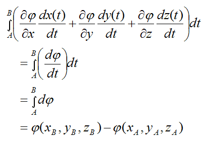 For cons force the total work done on particle from A to B is the difference of some potential func4