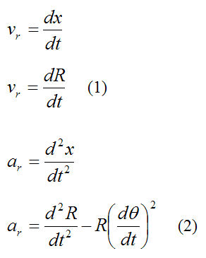Radial velocity and acceleration of a particle in polar coordinates for curvilinear motion