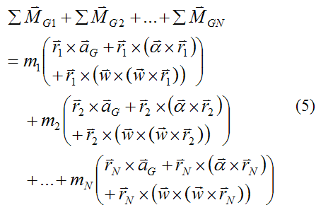 Sum of moments about G over entire rigid body for derivation of Euler equations
