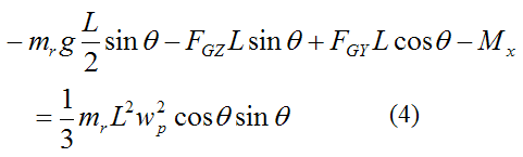 Final moment equation for gyroscope rod