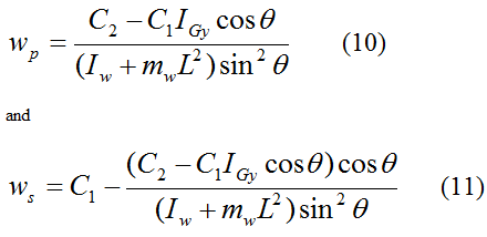 equations for wp and ws for general gyroscope motion