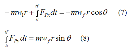 Equations for impulse and linear momentum in xy plane 2