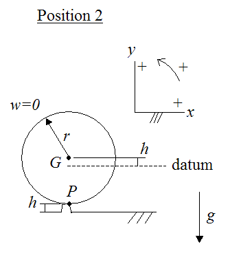 Schematic for position 2 of ball in impulse and momentum problem where a ball hits a bump