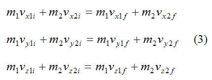 Conservation of linear momentum for inelastic collision along x y z