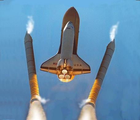 separation of booster rockets and space shuttle external tank - photo #1