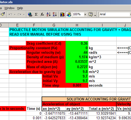 screen capture of excel spreadsheet for projectile motion simulator
