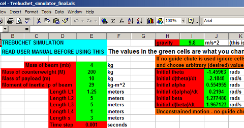 screen capture of excel spreadsheet for trebuchet simulator