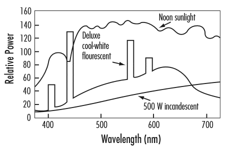 spectral distribution of different light sources