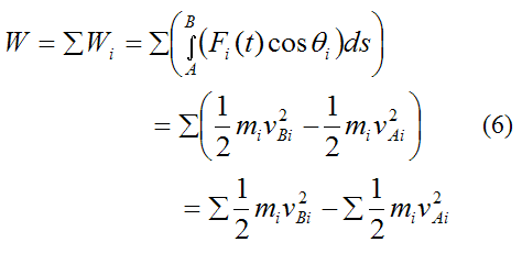 Sum over all the particles in the rigid body to find the total work done from A to B