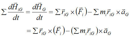Sum over all the particles mi in the rigid body for angular momentum