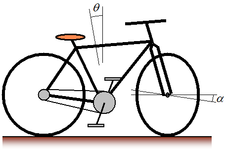 bicycle schematic showing lean and steer angle