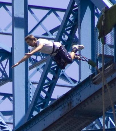 picture of bungee jumper jumping