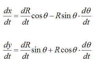 Velocity of a particle in polar coordinates for curvilinear motion