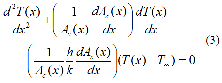final differential equation for 1 d heat flow through pin fin