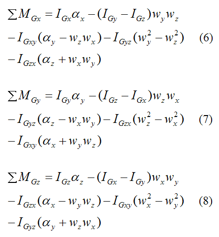 Final moment equations about G over entire rigid body in derivation of Euler equations