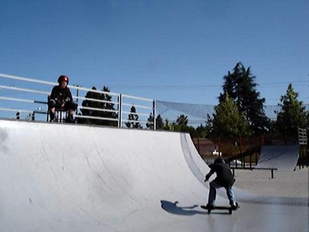 skateboard on half pipe
