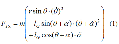 specific force equation in x-direction for golf swing