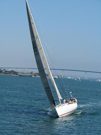 sailboat tilting in wind