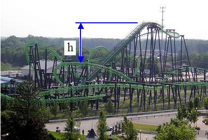 roller coaster descending a height h