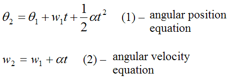 Equations for angular position and velocity for constant angular acceleration for rotational motion2