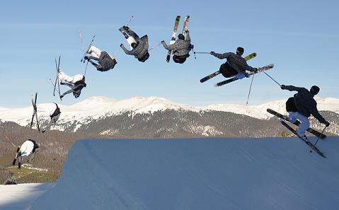 picture of aerial freestyle skier doing a trick