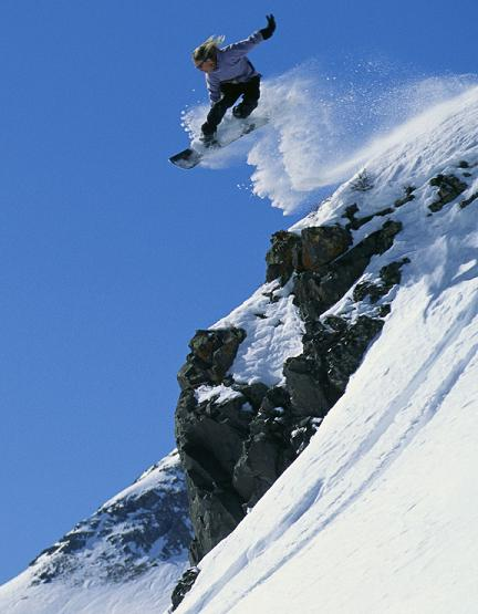 snowboarder going down a mountain 2