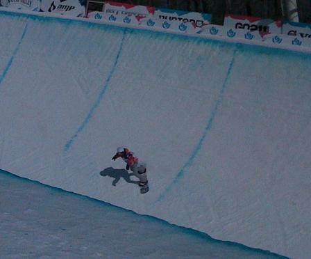 snowboarder on half pipe